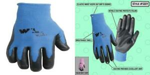 Wells Lamont Nitrile coated Work Gloves Youth Ages 4 8 10 Blue pink