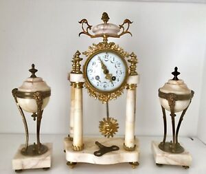 Antique French Louis Xvi A D Mougin Marble Bronze Portico Clock With Garniture