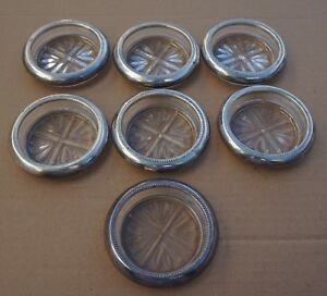 Coasters Glass Sterling Silver Rims Fb Rogers 1883 Set Of 7