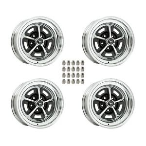 Magnum 500 Wheels Kit With Black Mustang Wheel Caps And Lug Nuts 15 X8