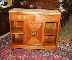 French Antique Oak Art Deco Marble Top Sideboard Bar Server Furniture