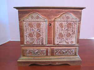 Vintage Musical Jewelry Box Florentine Italian Style Wood Hinged Mirror Drawer