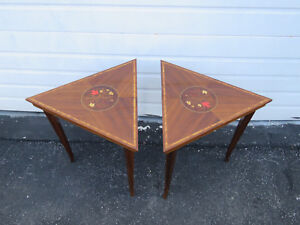 Inlay Triangle Diamond Shape Vintage Pair Of Side End Tables Coffee Table 9183