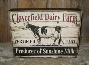 Dairy Milk Cow Wood Box Sign Primitive French Country Farmhouse Shelf Decor