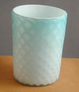 Antique Blue Turquoise White Diamond Quilted Satin Glass Tumbler 3
