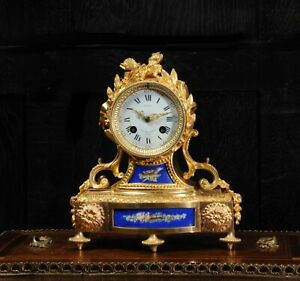 Japy Freres Antique French Ormolu And Blue Porcelain Boudoir Clock Beauty C1860