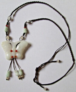 Antique Old White Jade Butterfly Necklace