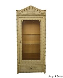 Vintage Hollywood Regency Chinoiserie Gold Display Cabinet French Linen Press