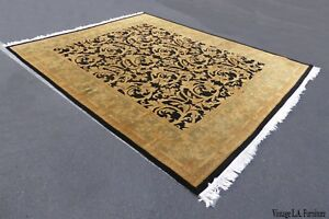 Large Gorgeous Vintage Persian Style Gold Black Area Rug 10 X 8