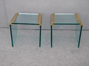 Pair Vintage Leon Rosen Pace Collection End Tables Glass Brass Mid Century