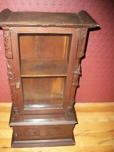 Antique Arts Crafts Display Storage Curio Cabinet Hand Carved Wood C1900