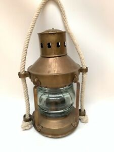 Vintage Brass Ships Lantern Masthead Light Maritime Oil Lamp W Rope
