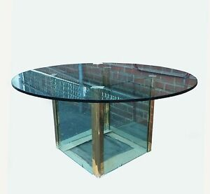 Pace Collection By Leon Rosen Vintage Brass Glass Dining Room Table As Is