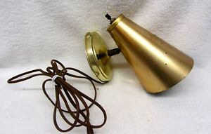 Vintage Cone Wall Lamp Gold Tone Metal Pierced Punched Holes Mid Century Modern