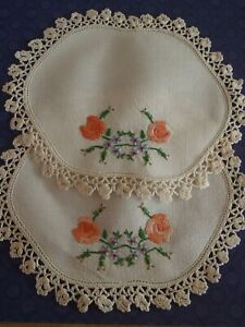 2 Vintage Doilies Hand Embroidered Floral Pink Roses Crochet Border 20x18 Cm