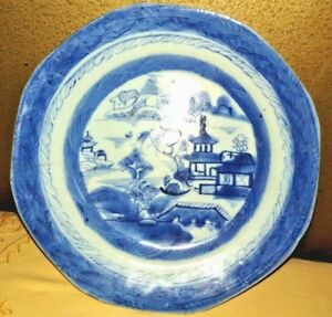 Vintage Blue White Plate Chinese Export Canton Nanking Porcelain Collectibles