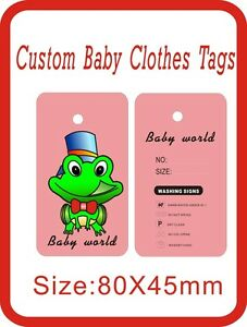 Custom Children Clothes Tags Frog Baby Clothes Tags 500pcs 300gsm Paper B2