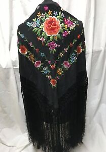 Antique Manila Shawl Embroidered Silk Spanish Canton Piano Embroidered Flower