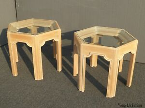 Pair Vintage Mid Century Hexagon White Wash End Tables W Beveled Glass Tops