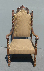 Vintage Spanish Style Barley Twist Throne Arm Chair Ornately Carved