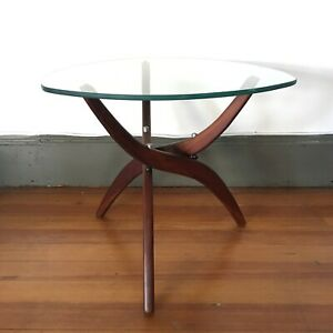 Vintage Mid Century Modern Rosewood Glass Side Table By Forest Wilson