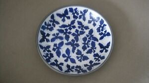 Vintage Neiman Marcus Blue And White Butterflies Glass And Metal 8 In Bowl