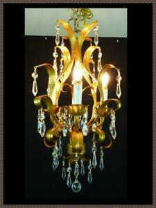 Vintage Petite Italian Tole Chandelier Amazing Leaded Crystals Gorgeous Fixture