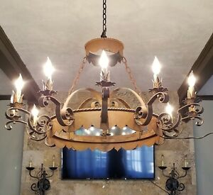 Antique Iron Chandelier Large 12 Light Gothic Medieval Spanish 41 Wide