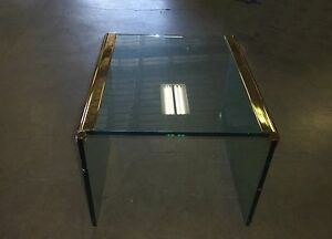 Pace Collection By Leon Rosen Vintage Brass Glass End Table Coffee Table