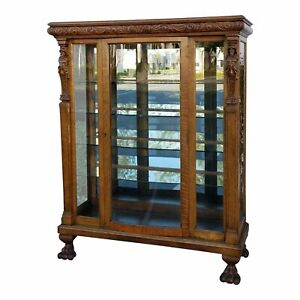 Vintage R J Horner Bros French Country Oak Carved Curio Display Cabinet Claw
