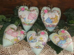 5 Rabbits Hearts Vintage Look Easter Wreath Making Country Kitchen Home Decor