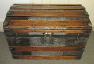 Antique Steamer Trunk Vintage Victorian Embossed Pattern Wide Slat Chest C 1890