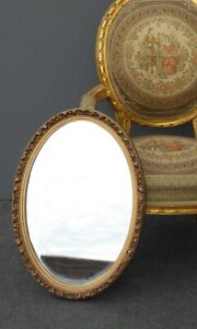 Vintage French Provincial Style Gold Gilt Floral Design Oval Wall Mirror