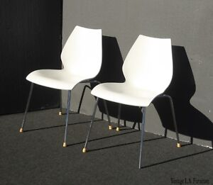 Pair Vintage Mid Century Modern White Accent Maui Chairs By Kartell Made Italy