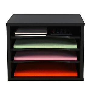 4 Tiers Magazine Paper Organizer Office Desk Storage Document black