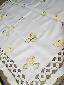 Vintage Hand Embroidered Linen Tablecloth Easter Chicks Flowers Eggs