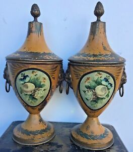 Pair Of Antique Handpainted Chestnut Urns Toleware