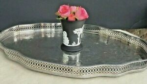 Antique Vintage English Silver Plate Gallery Tray