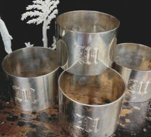 Antique English Sterling Silver Napkin Rings Set Of Four