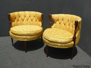 Pair Of Mid Century Modern Oval Gold Club Chairs Stacey House Atomic Era