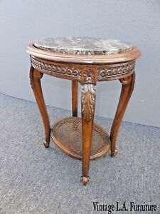 Antique Italian Carved Wood Cane Two Tier Marble Top Side Table