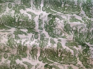 Antique French Toile Green Cotton Linen Print Fabric 44 X 4 638 Yards On Bolt