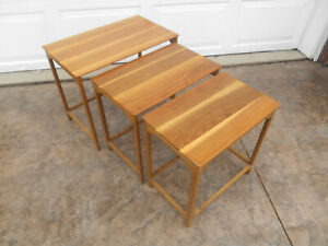Authentic Edward Wormley For Dunbar 3 Piece Nesting Side Table Set 1950 60 S