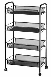 Halter Four Tier Rolling Mesh Storage Cart With Baskets 33 X 17 25