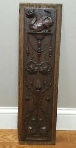 Architectural Gothic Griffin Chimeras Panel Antique French Salvaged Wood Carving