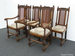 Set Of Six Antique Oak Barley Twist Cane Back Dining Room Chairs With Leopard