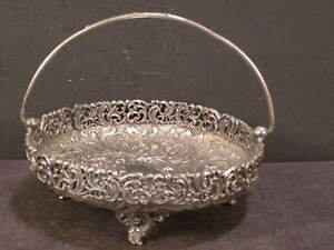 Fancy Victorian Silver Bride Basket Calling Card Holder Center Candy Bowl Dish