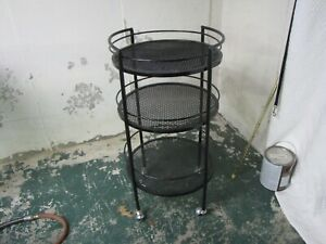 Vintage Woodard Outdoor Patio Porch Bar Serving Cart Round 3tier Mid Century