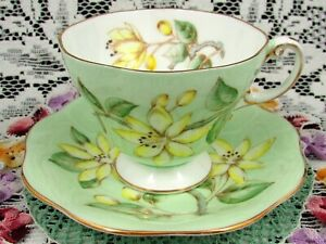 Foley Erica Hand Painted Yellow Floral Green Tea Cup And Saucer