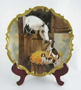 Rare Limoges France Signed Hand Painted Horse Colt W Dog Puppies 12 Charger